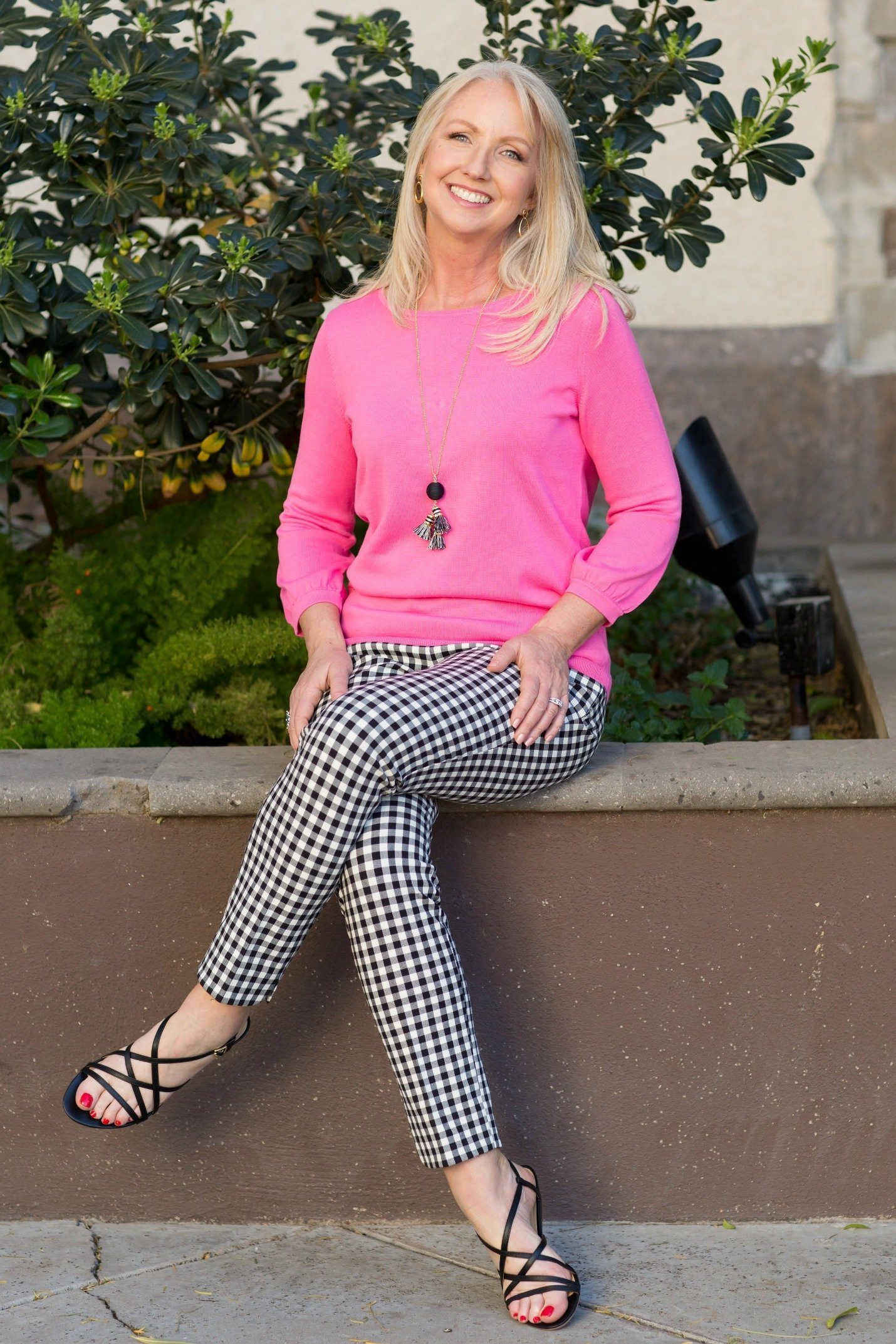 Gingham Pants with Pink Sweater Fun