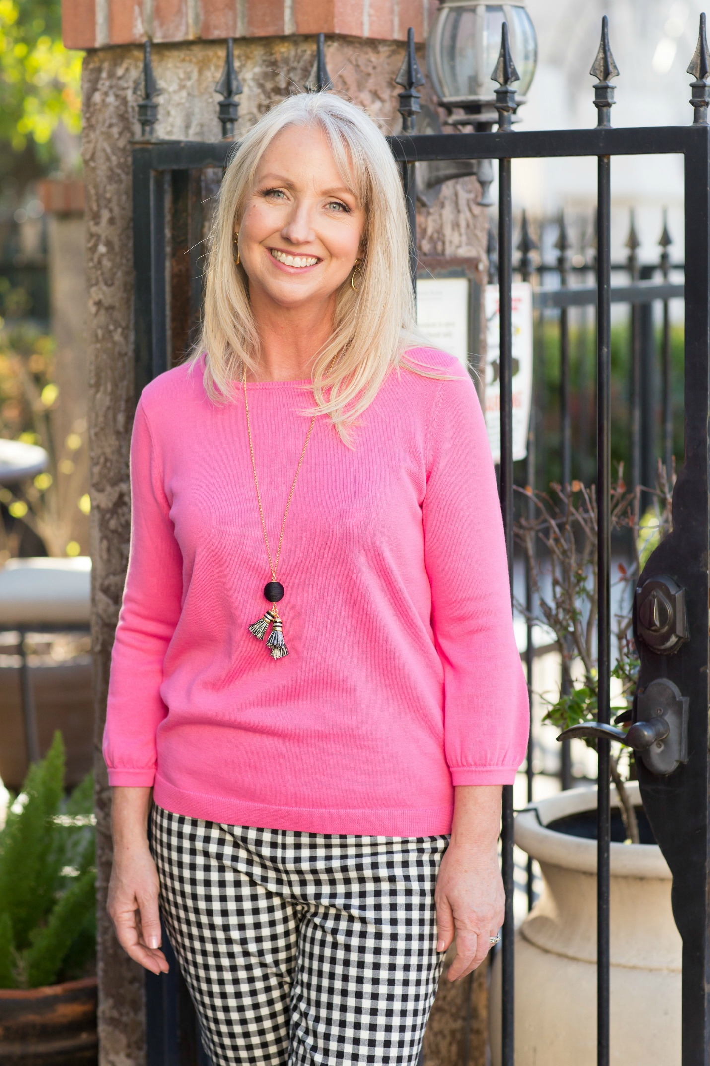 Pink Bow Crewneck Sweater Gingham Pants