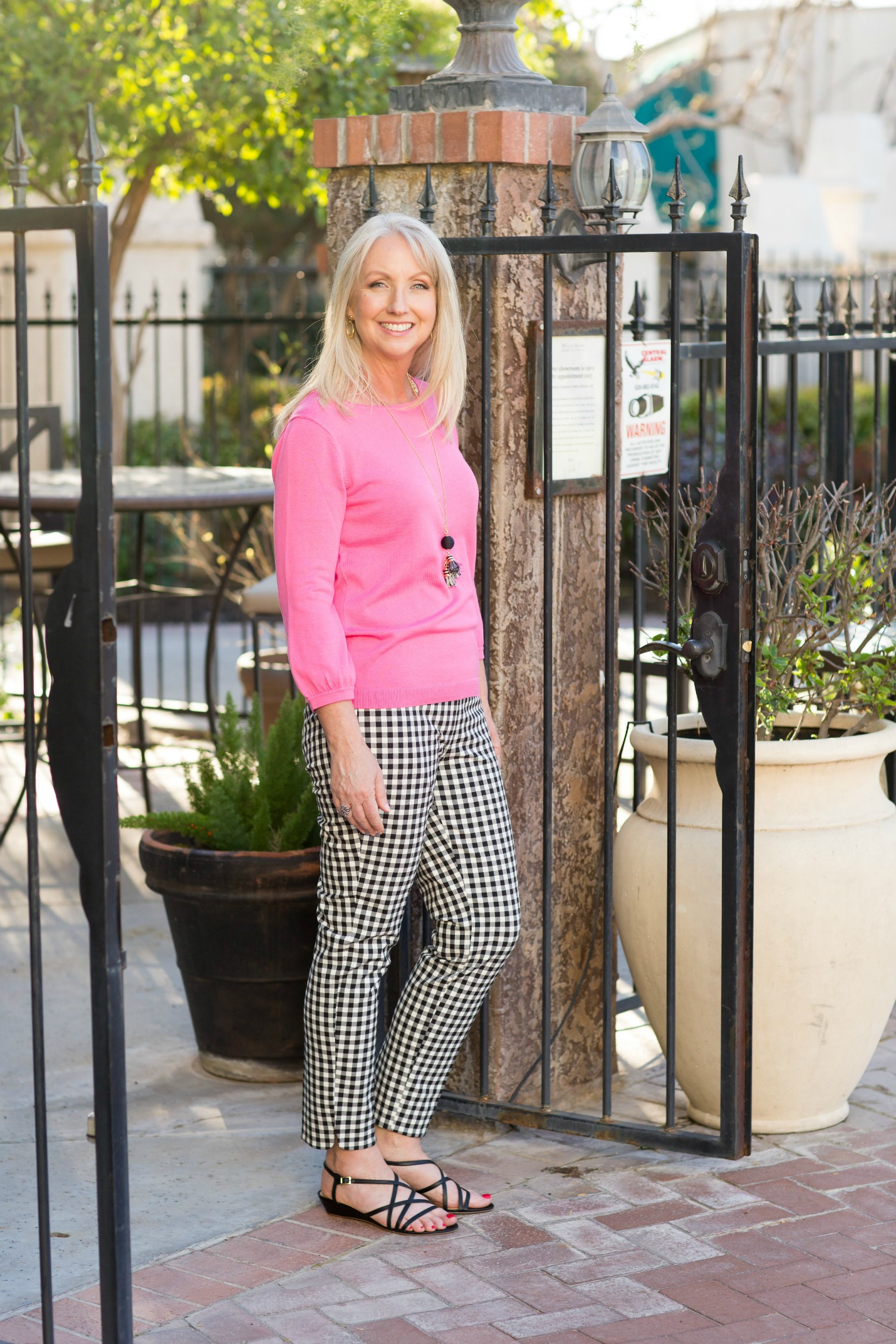 Gingham Pants Pink Sweater 7a