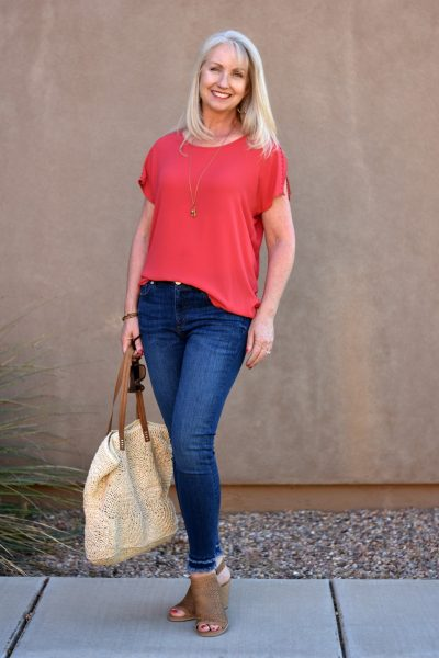 Modern Double Frayed Skinny Ankle Jeans from Loft