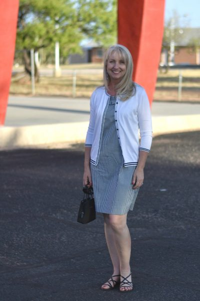 Gingham Dress with Cardigan