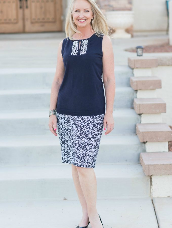A navy and white skirt set is a classic that will stay in your closet for years to come.
