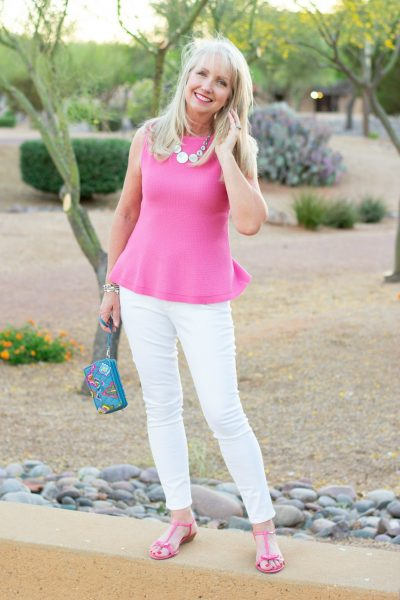 White skinny jeans for the over 40 woman