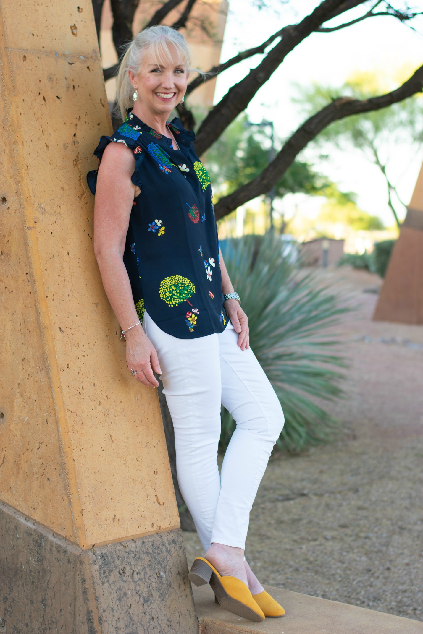 White Jeans Hummingbird Shirt