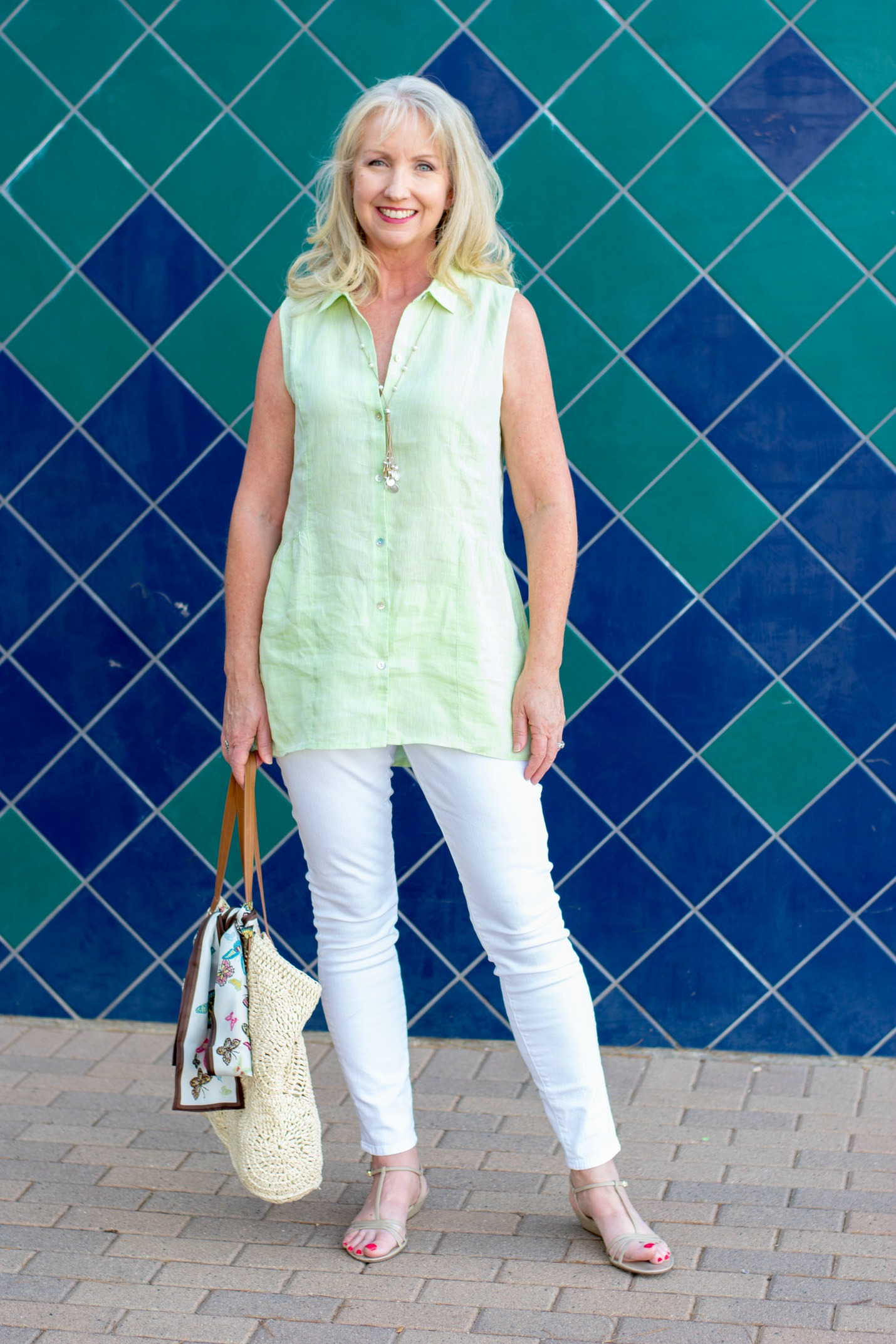White Jeans Linen tunic