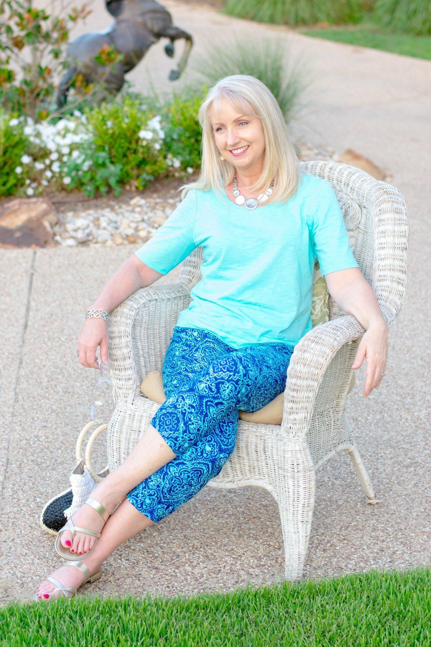 Mixed Blues Crop Pants and Tee 2