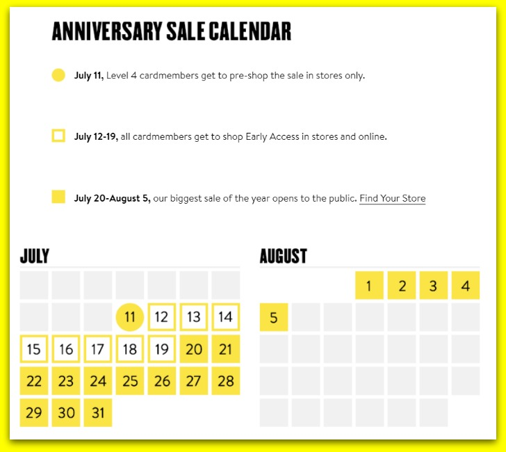 Norstrom Sale Calendar