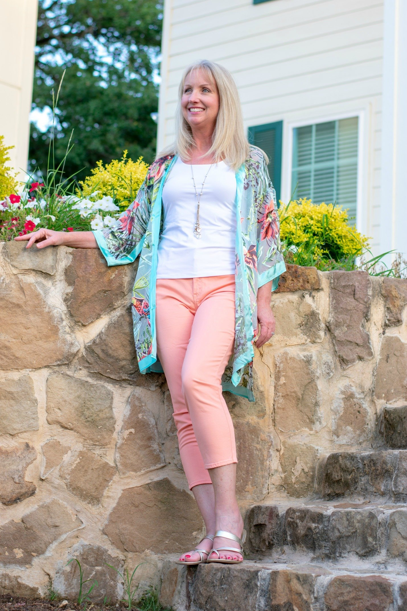 Tropical Kimono and Peach Crop Pants