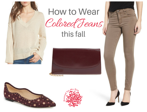 How to Wear Colored Jeans this Fall