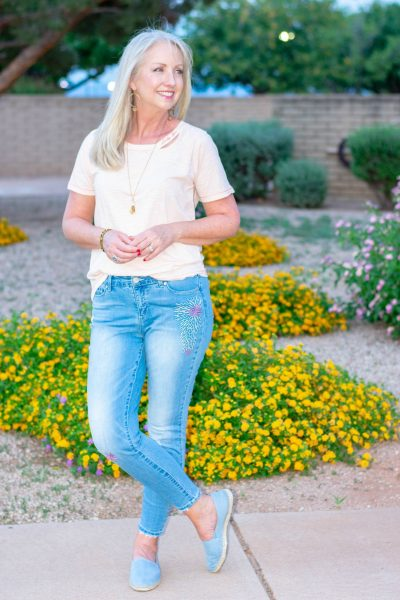 Deconstructed Tee and Embroidered Jeans