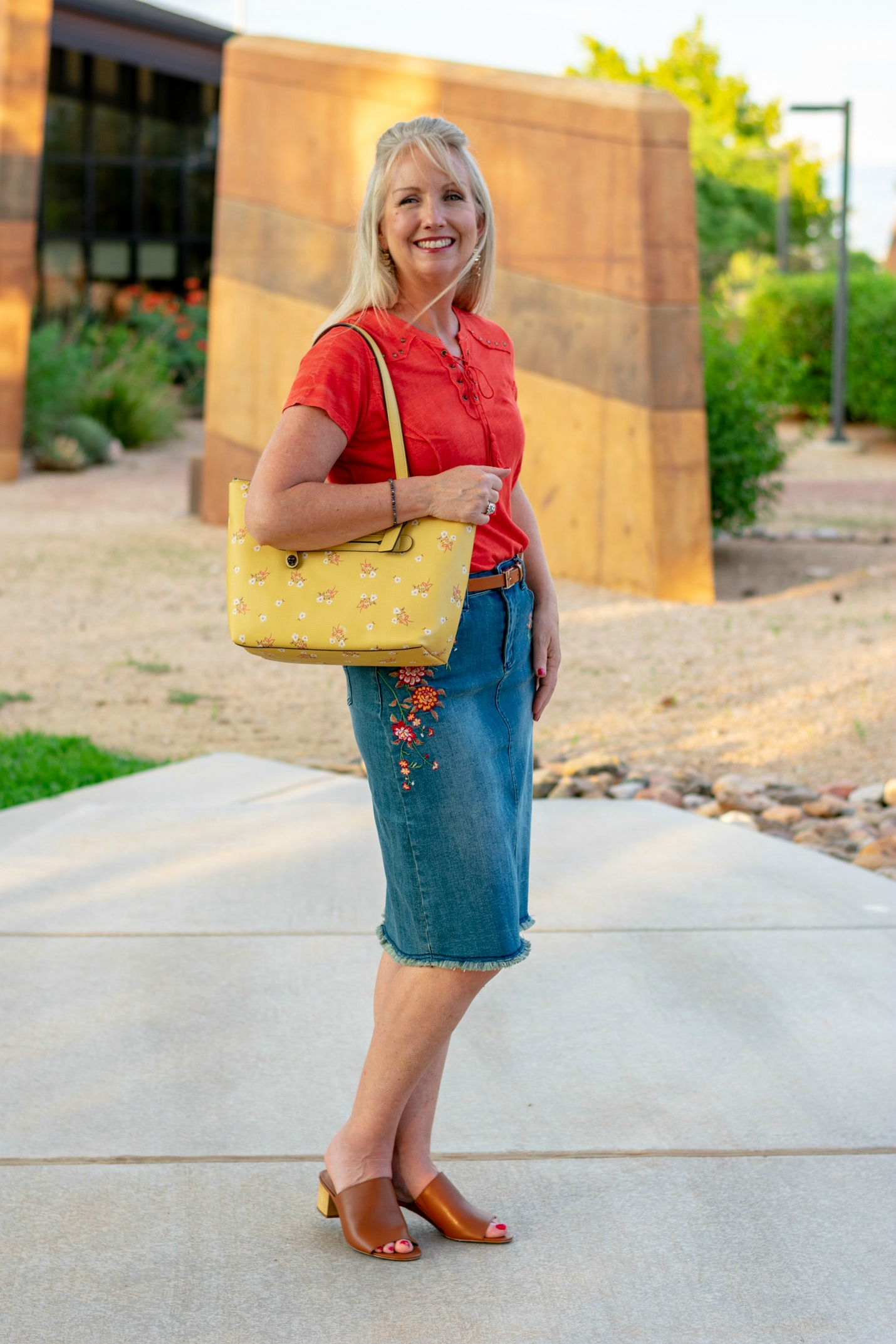 Embroidered Denim Skirt - Styling Reba