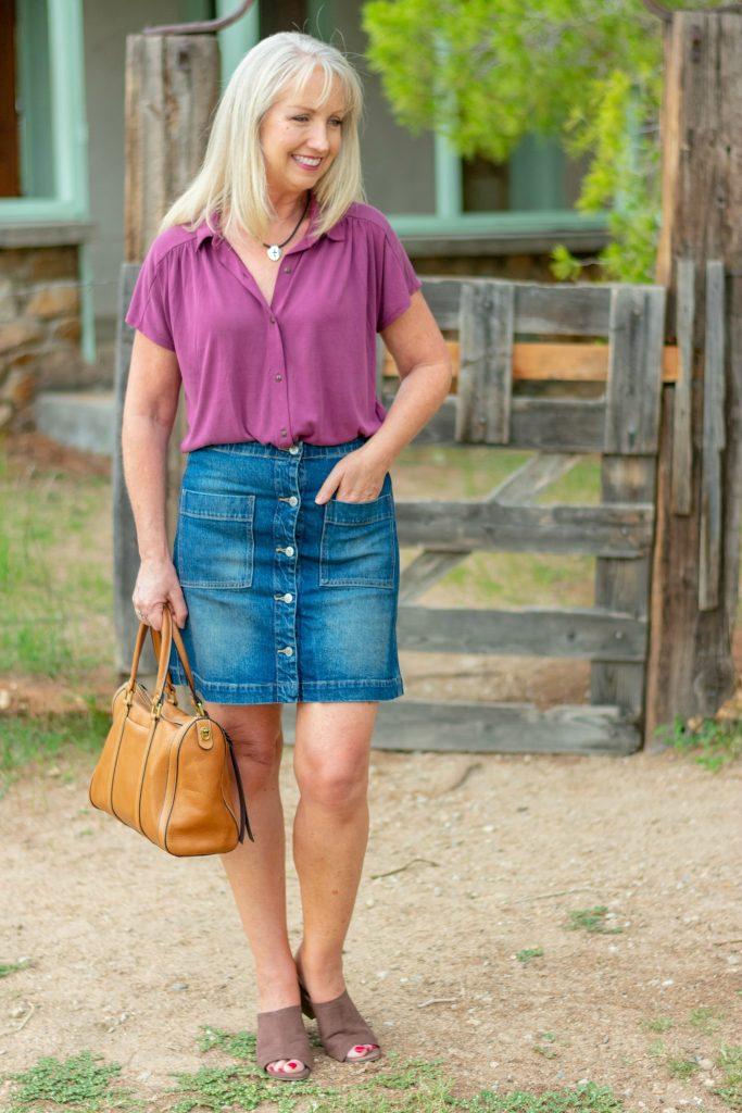 Denim Skirt and Solid Button up Shirt