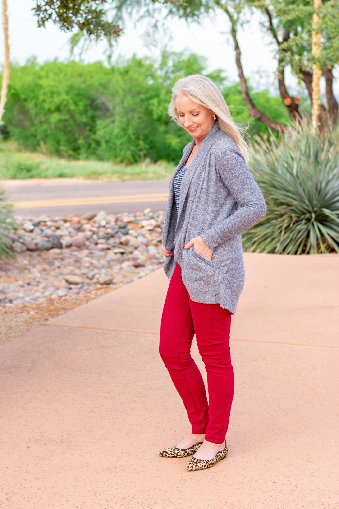 cranberry colored jeans and circle cardigan