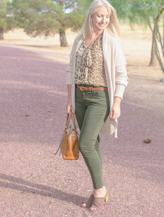 Colored Jeans and Leopard Print Blouse for Fall