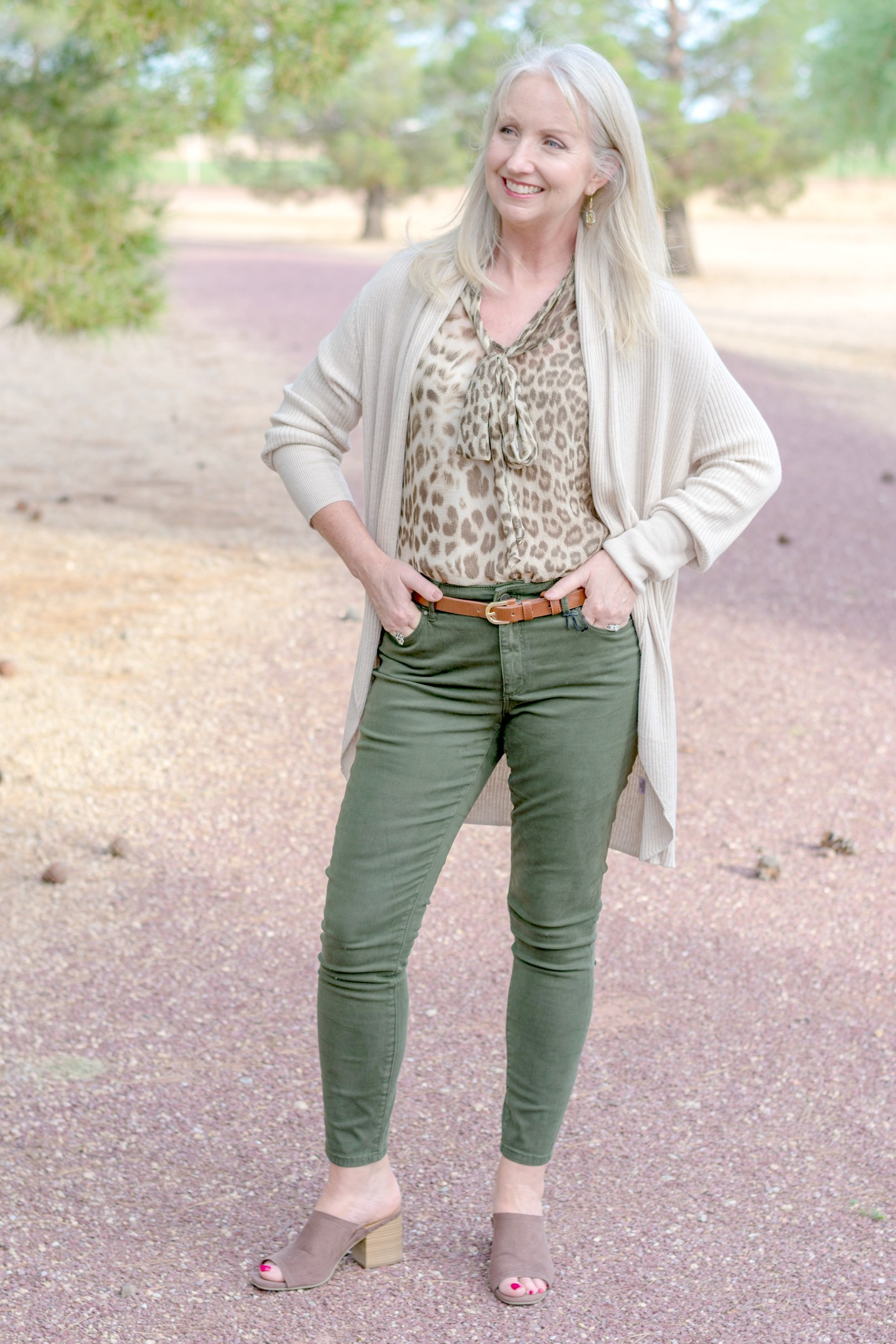 Colored Jeans and Leopard Print Blouse