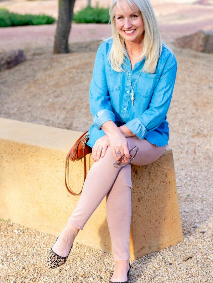 Pale Pink Jeans + Denim Shirt for Fall