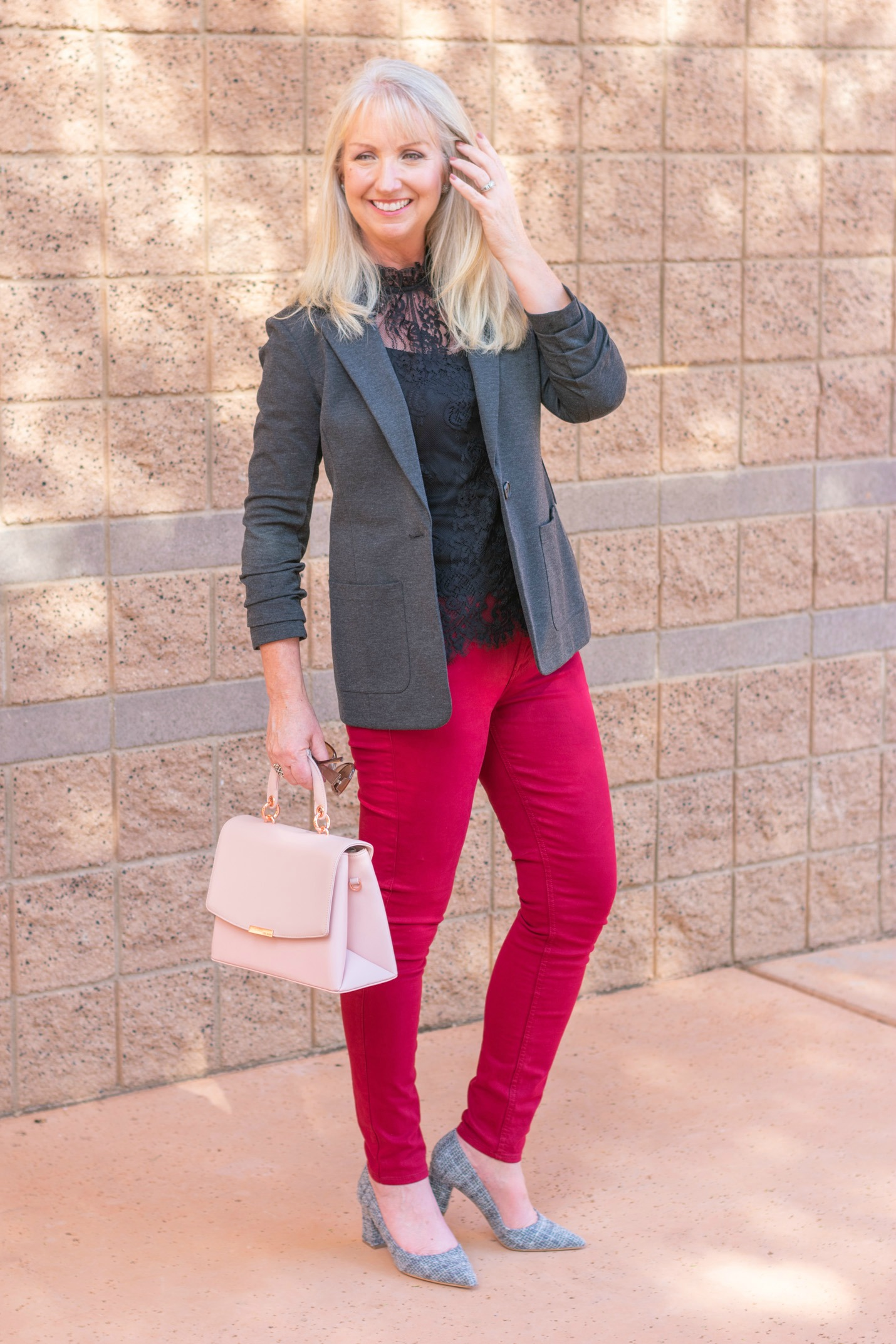 Ruched Sleeve Blazer for Dressing Up Jeans