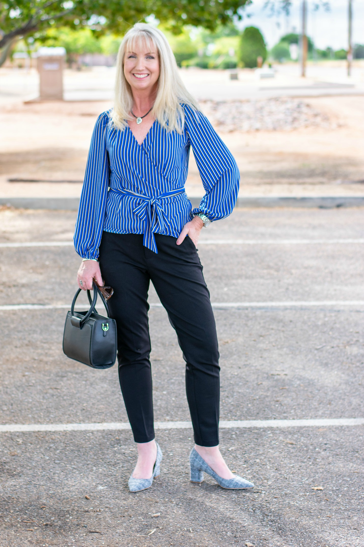 Wrap Top + Ponte Knit Pants
