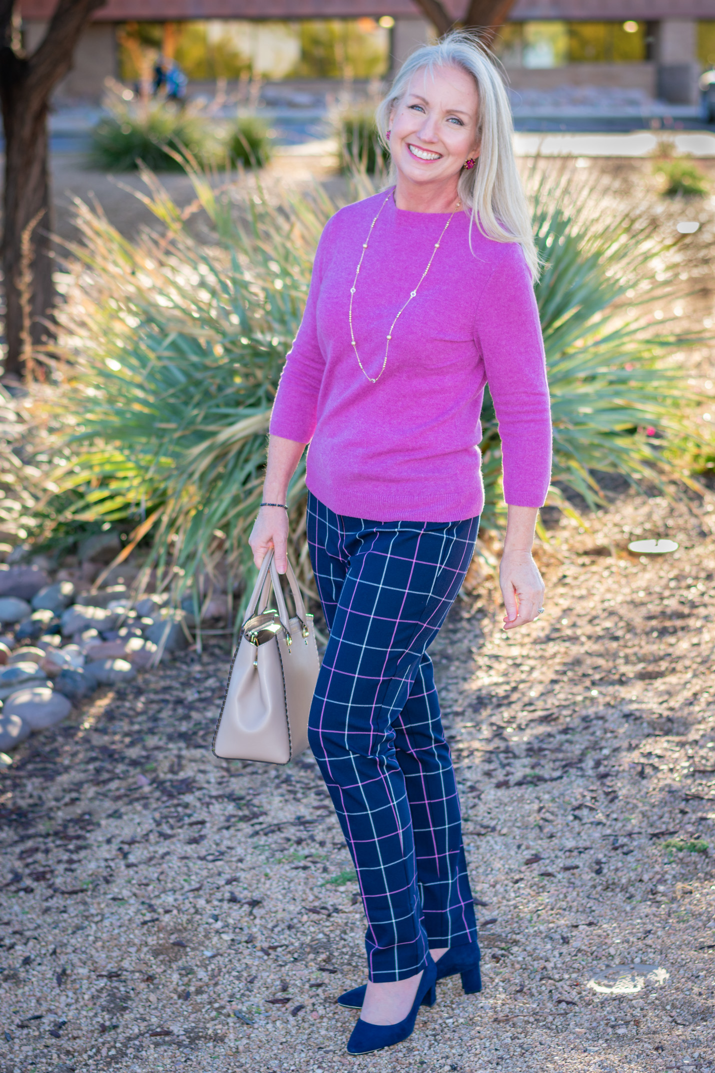 Classic Fall Plaid Pants and Soft Cashmere