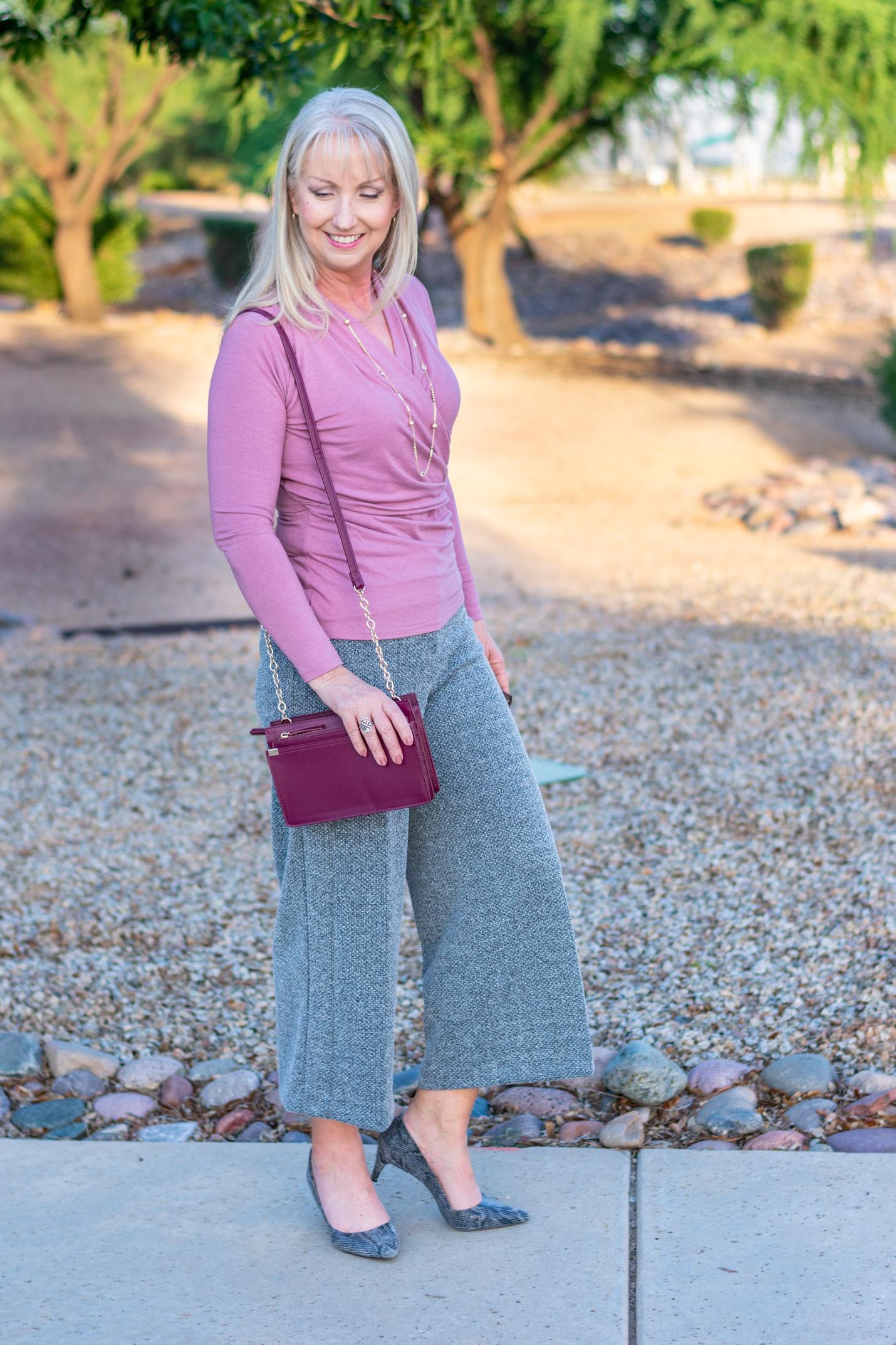 Marled Knit Wide Leg Crop Pant