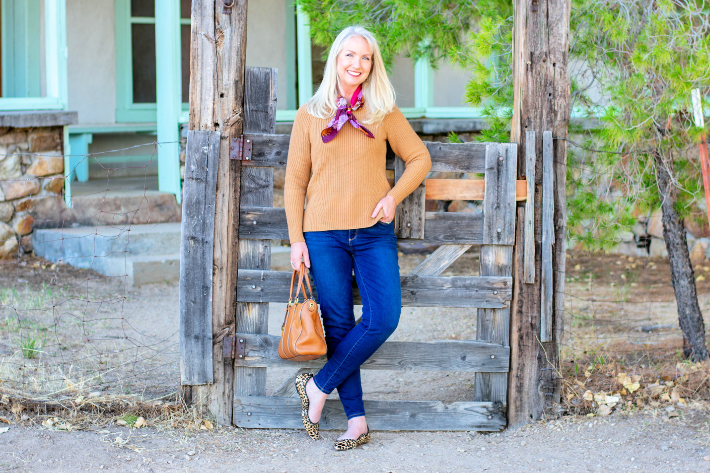 Caramel Pullover and Silk Floral Scarf