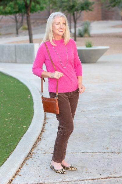 Fall Fuchsia Cashmere Sweater + Corduroys