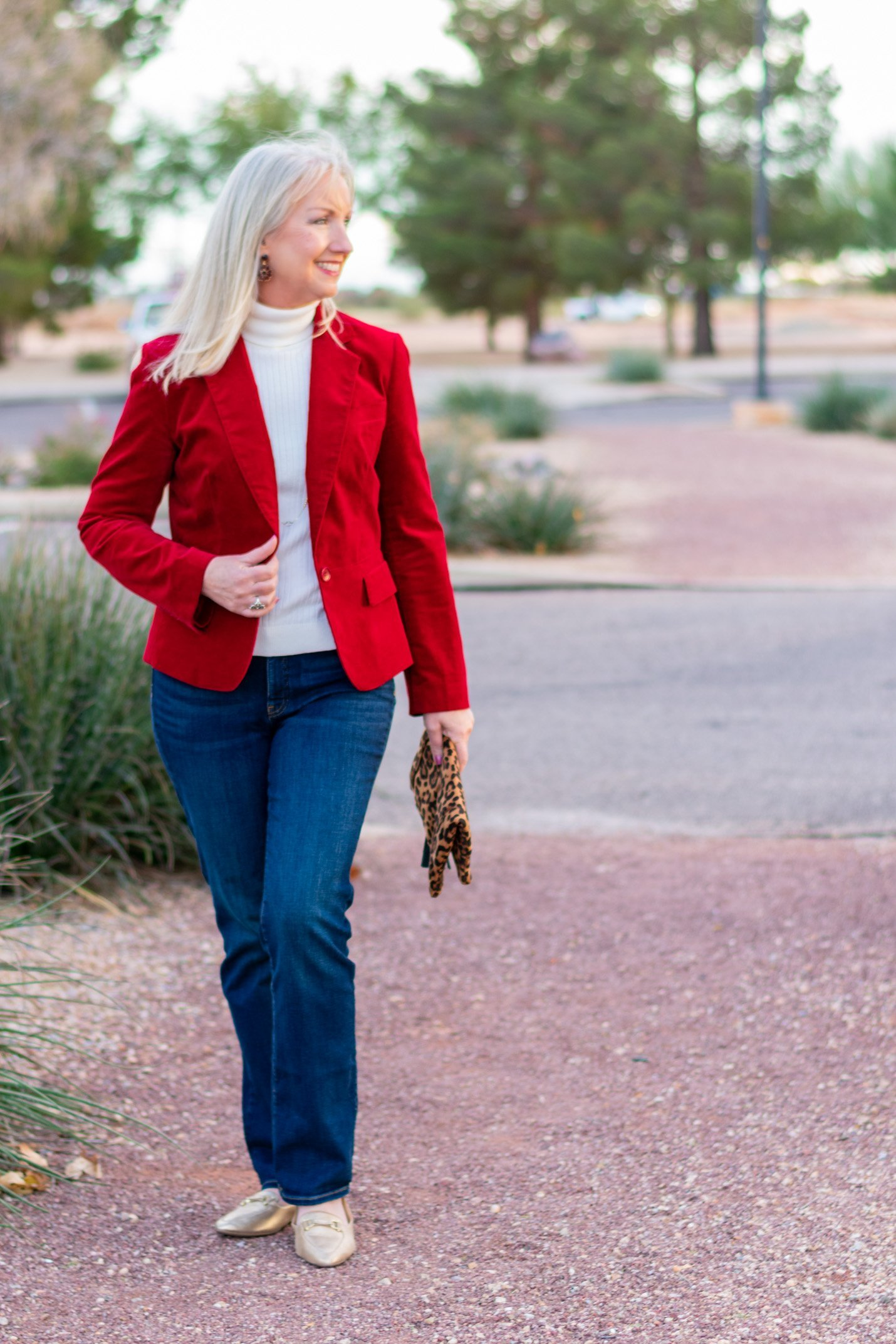 Red Velvet Blazer + Boot Cut Jeans