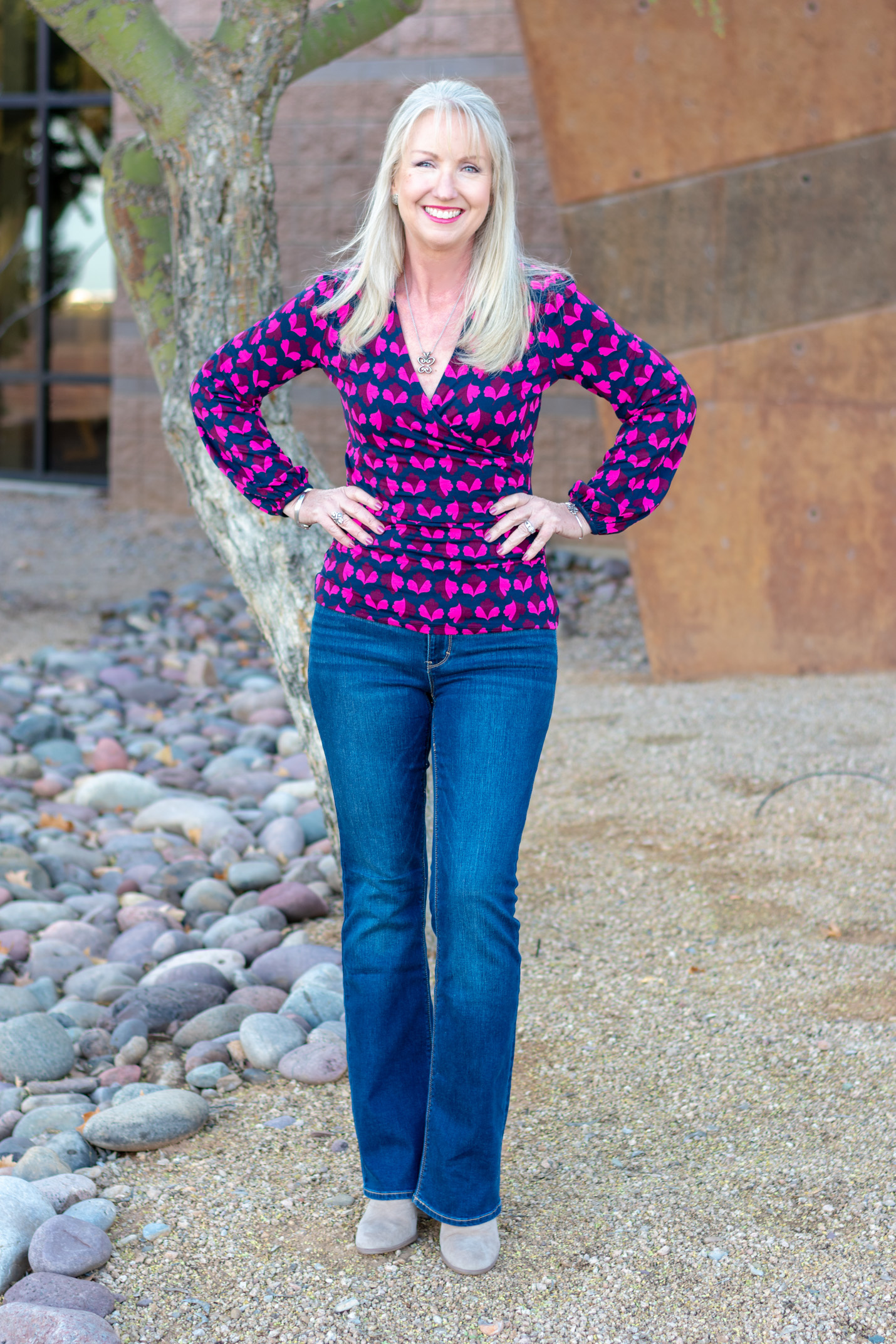 Ruched Wrap Top + Bootcut Jeans