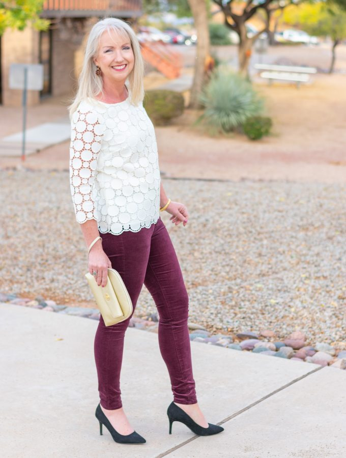 Velvet Jeans + Lace Top for Holiday Party