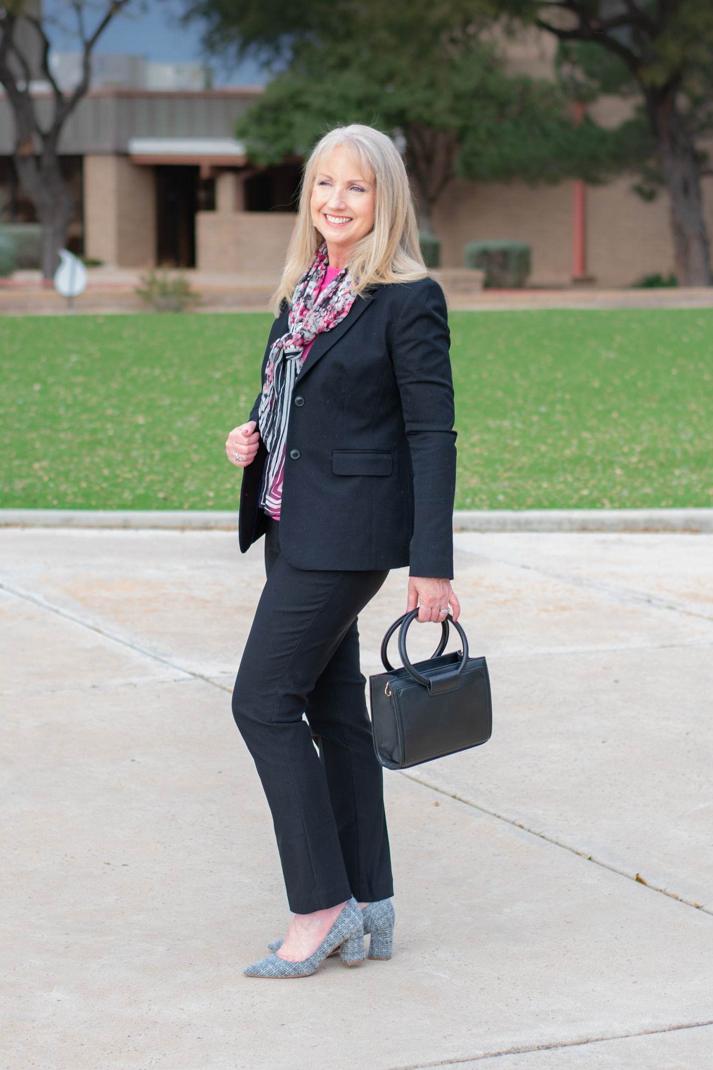 Black Blazer with Cashmere and Scarf