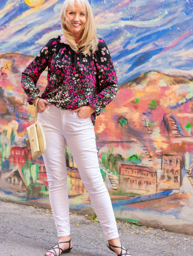 Black Floral Blouse with White Jeans