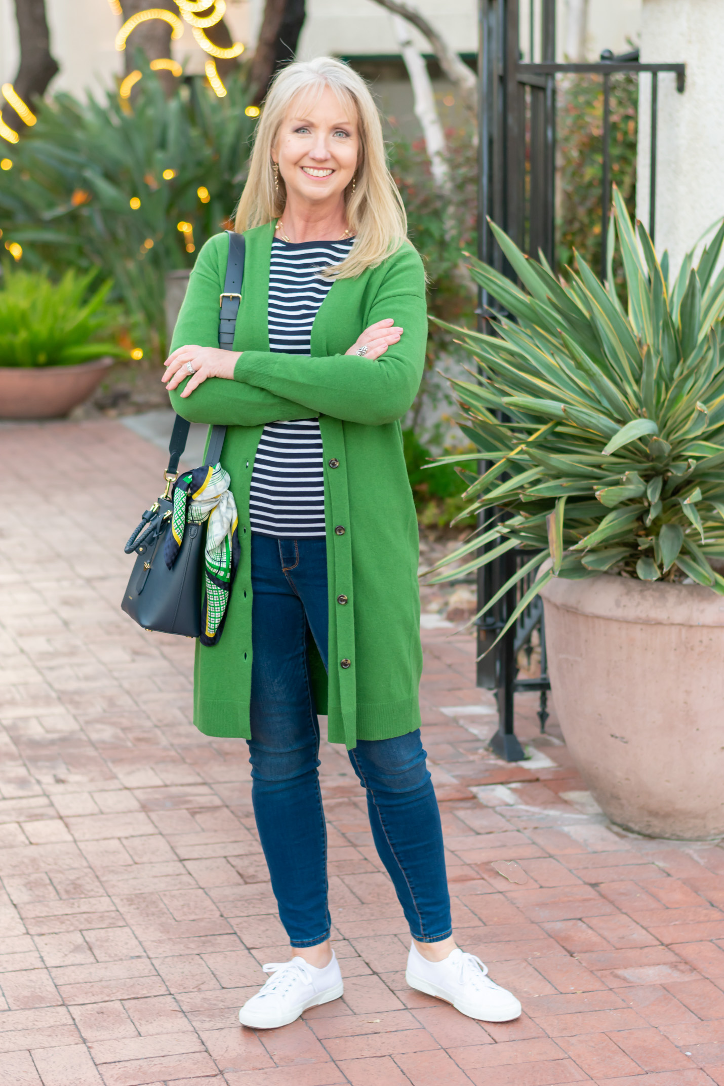Green Cardigan with Jeans and Striped Tee 06