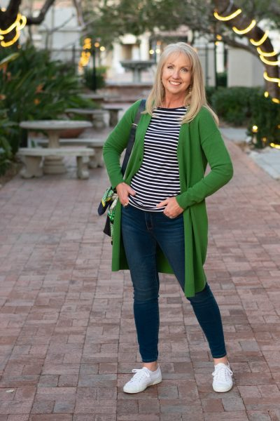 Green Cardigan with Jeans and Striped Tee 09