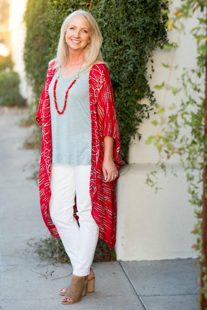 Kimono Red Aqua Top White Jeans 7