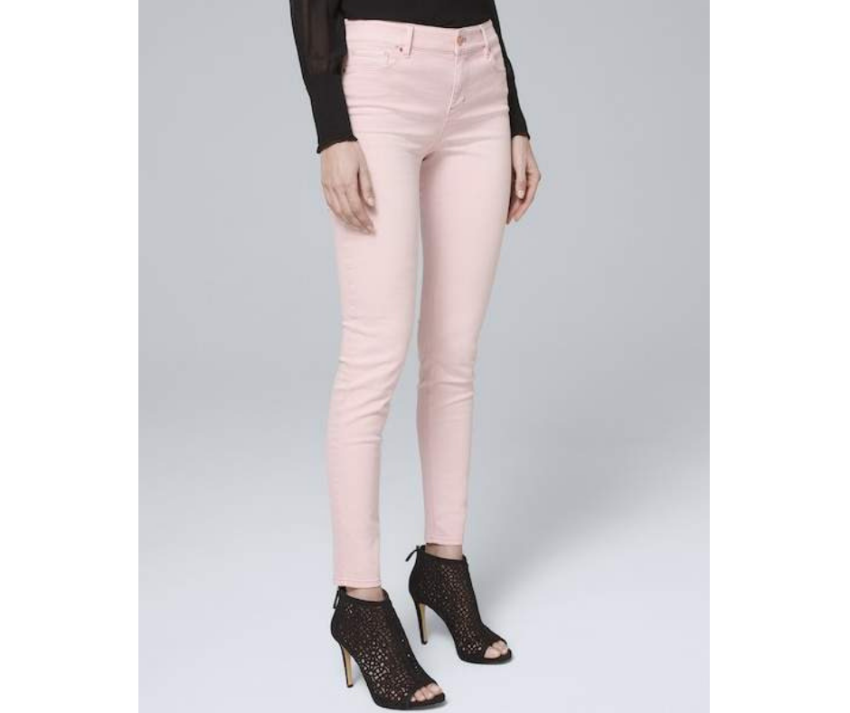 April Favorites - mid-rise skinny ankle jeans in goddess pink