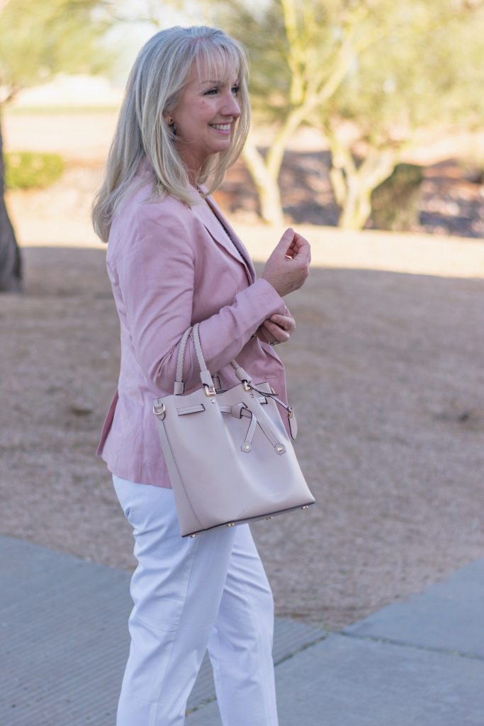 Blush Pink Blazer + White Pants