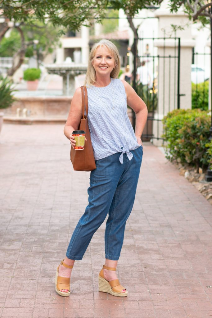Chambray Drawstring Pants Instead of Shorts for spring and summer