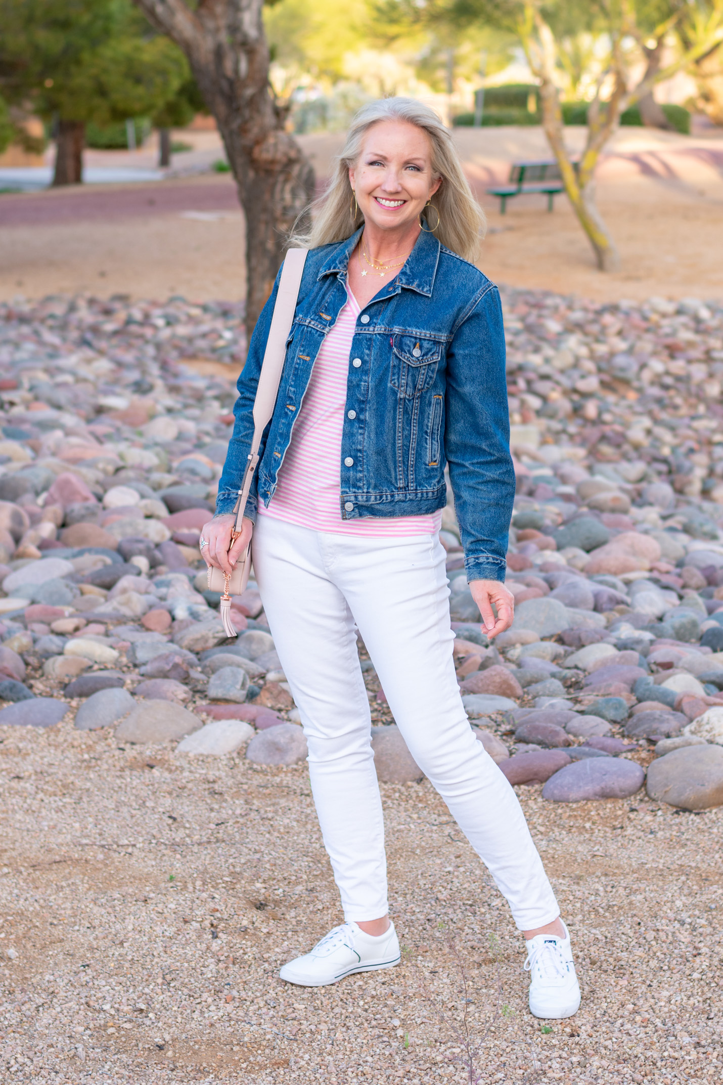 Denim Jacket with White Jeans + Tee