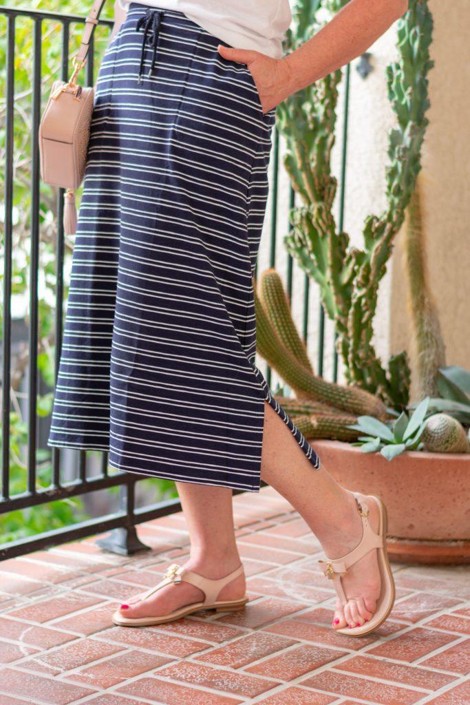 Stripe Midi Skirt for Spring