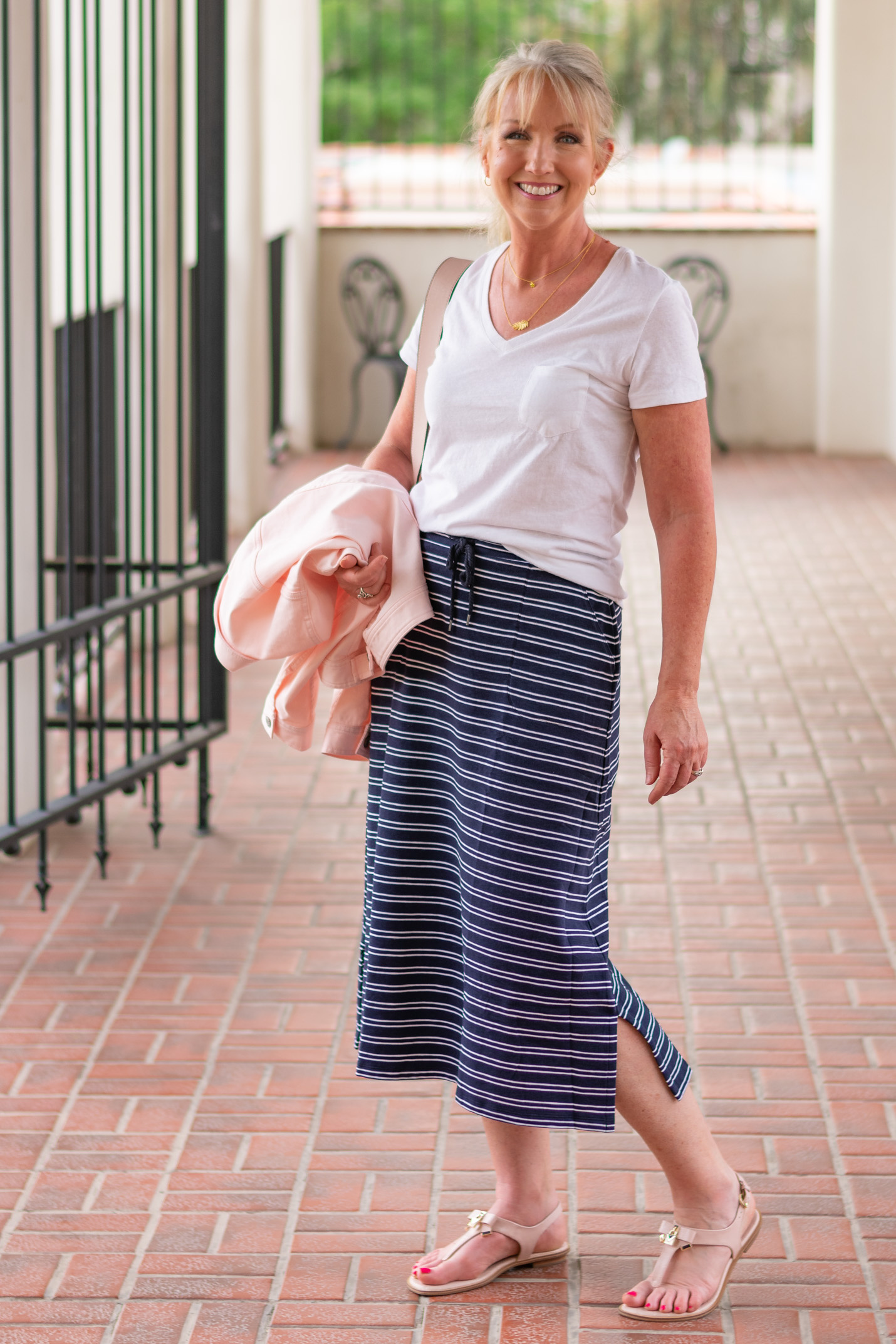 Stripe Midi Skirt for Spring