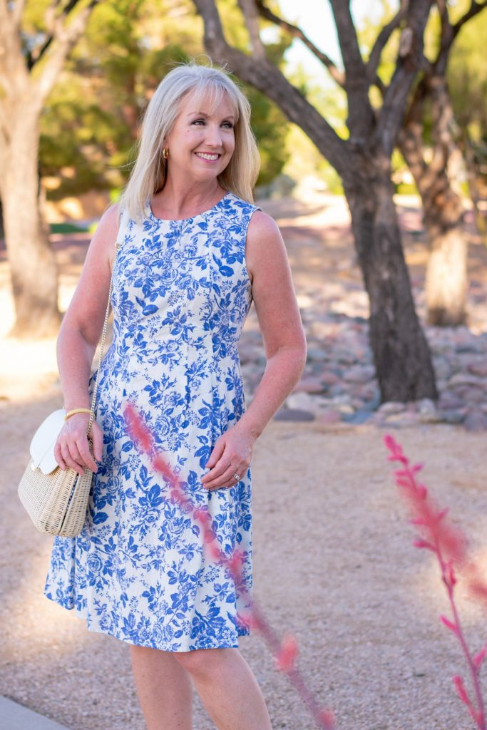 Blue Floral Fit and Flare Dress