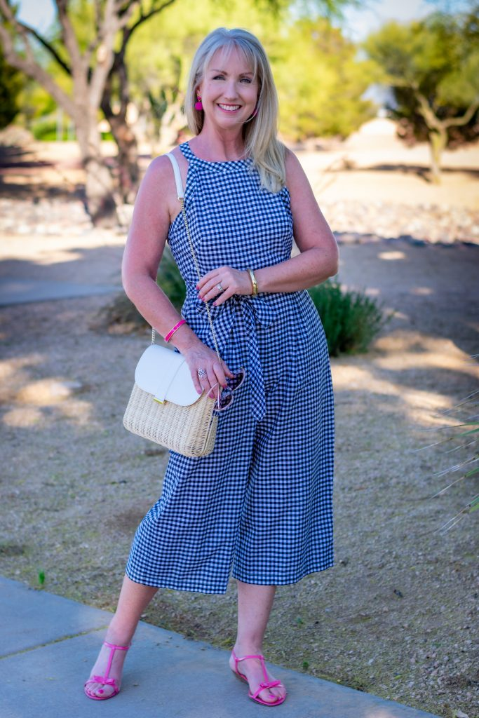 Halter Neck Gingham Jumpsuir