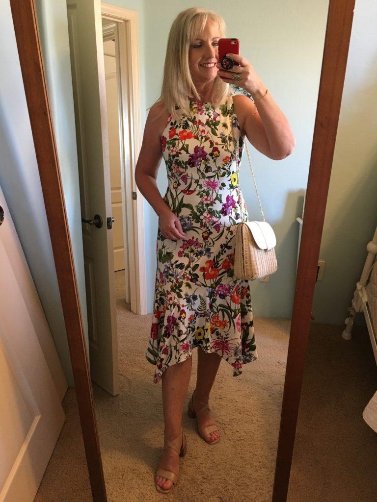 floral print charmeuse midi dress