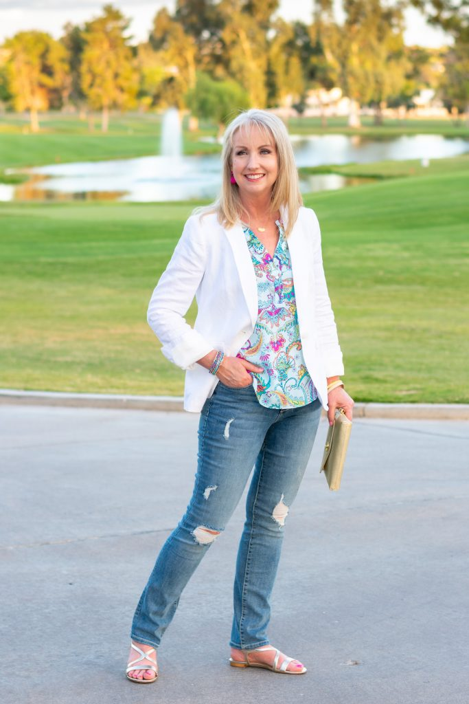 White Linen Blazer + Distressed Jeans