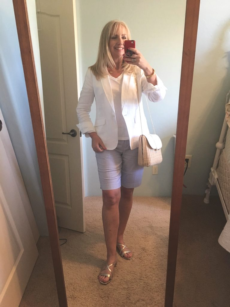 White Linen Blazer with Seersucker Shorts