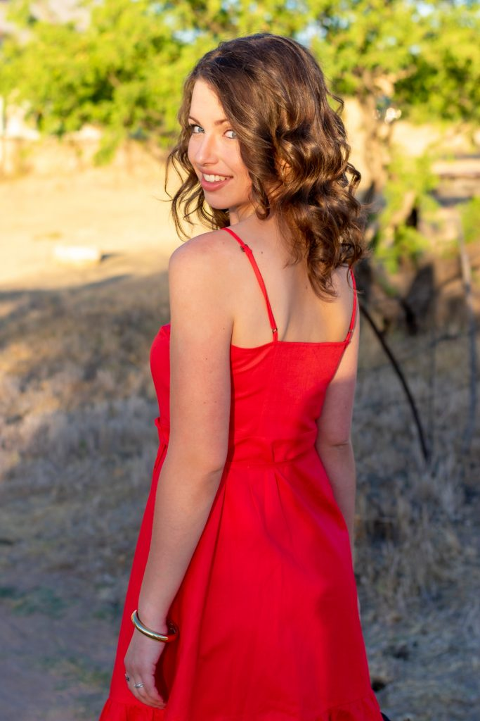 Red Linen Wrap Dress
