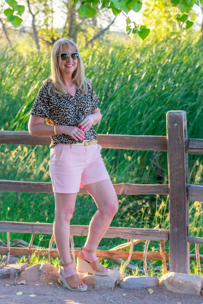 Pink shorts and Leopard print top
