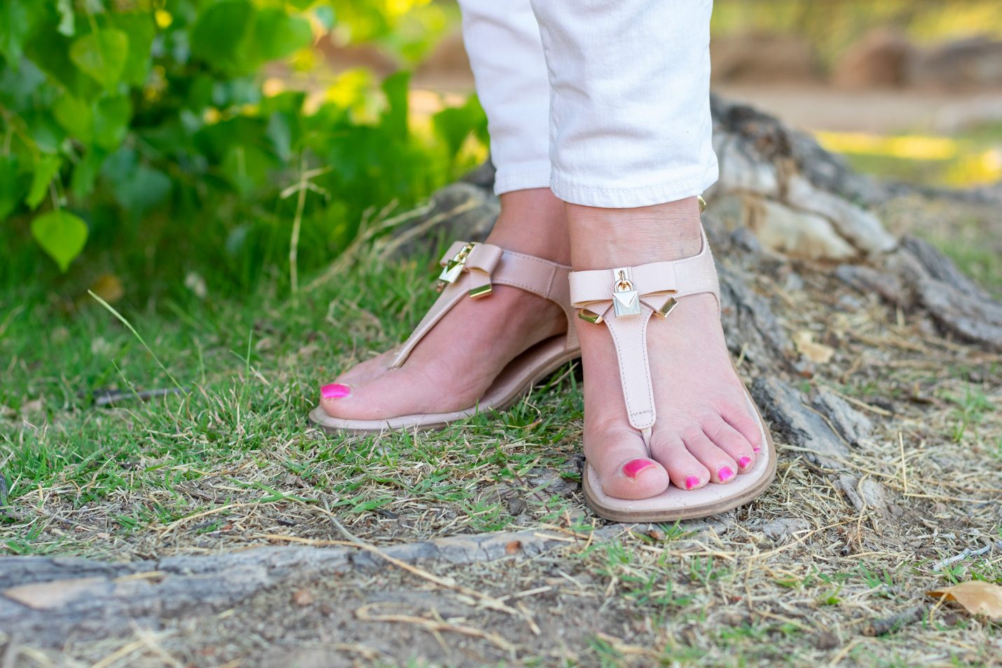 Pink Sandals with white jeans