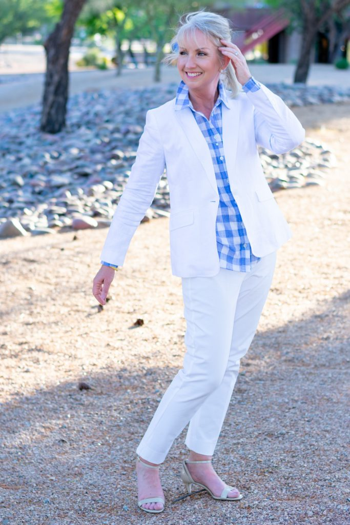 white blazer with white slacks and fun shirt