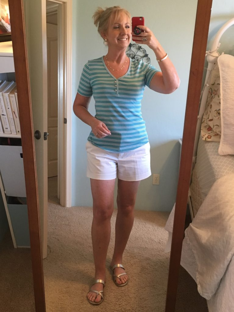 White Short & Turquoise Striped Tee
